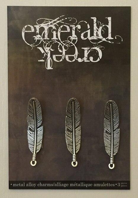 Vintage Feather Charm 3/pkg