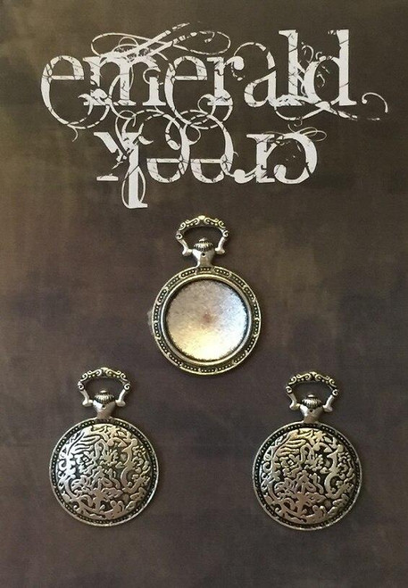 Flourished Timepiece Charm Silver 3/pkg