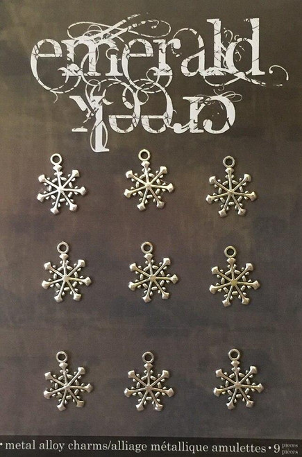 Mini Vintage Snowflake Charm 9/pkg