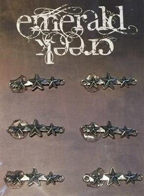 Three Star Metal Band Charm 6/pkg