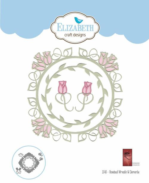 Quietfire Rosebud Wreath and Elements - Thinlit Die