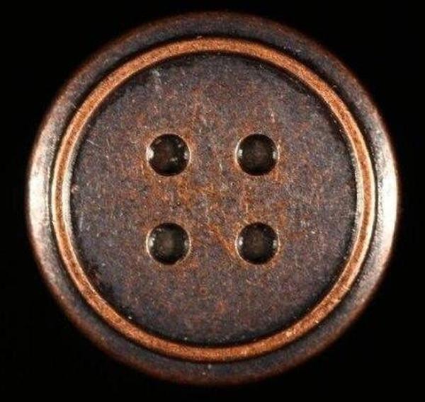 Metal Brad - 4Hole Button 12/pkg - MIXED 6 Antique Silver, 6 Antique Copper