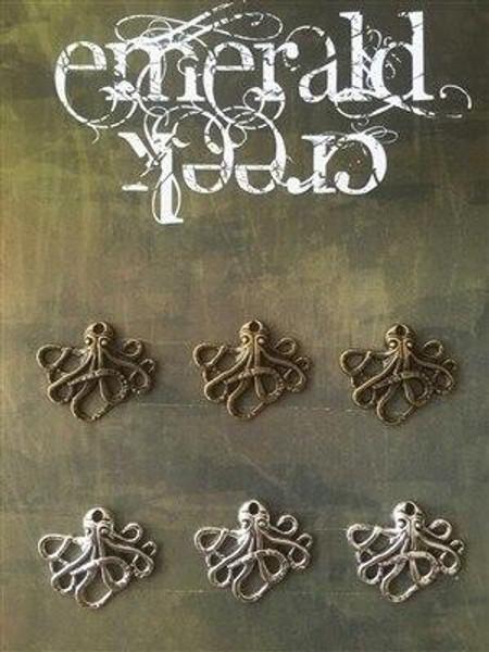 Steampunk Octopus Charms 6/pkg -