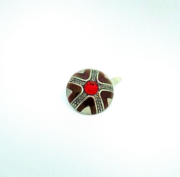 Emerald Creek Silver with Red Jewelled Brad - 12/pkg