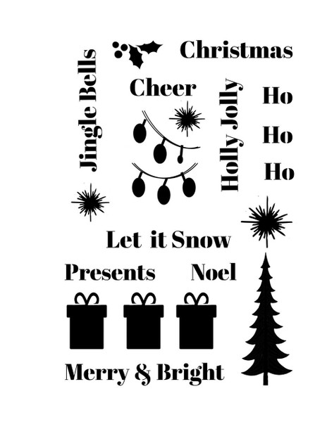Pam Bray Designs Christmas Collage Stencil - Pam Bray