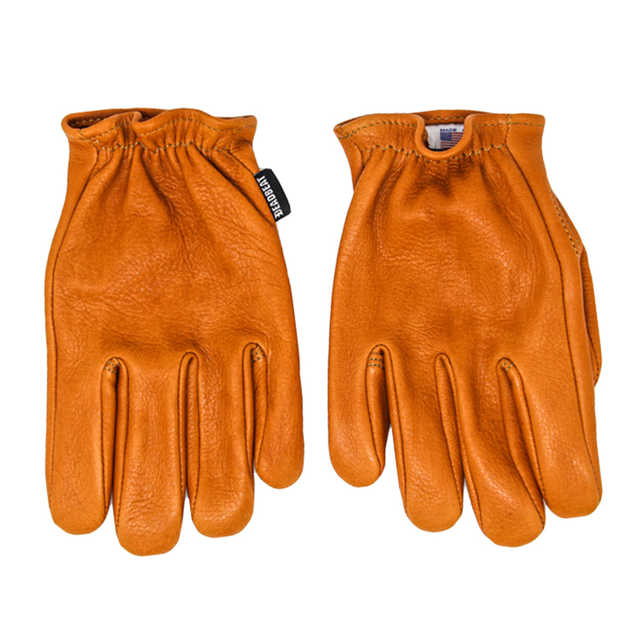 Black, Large Shaf International Mens Deerskin Short Wristed Driving Gloves