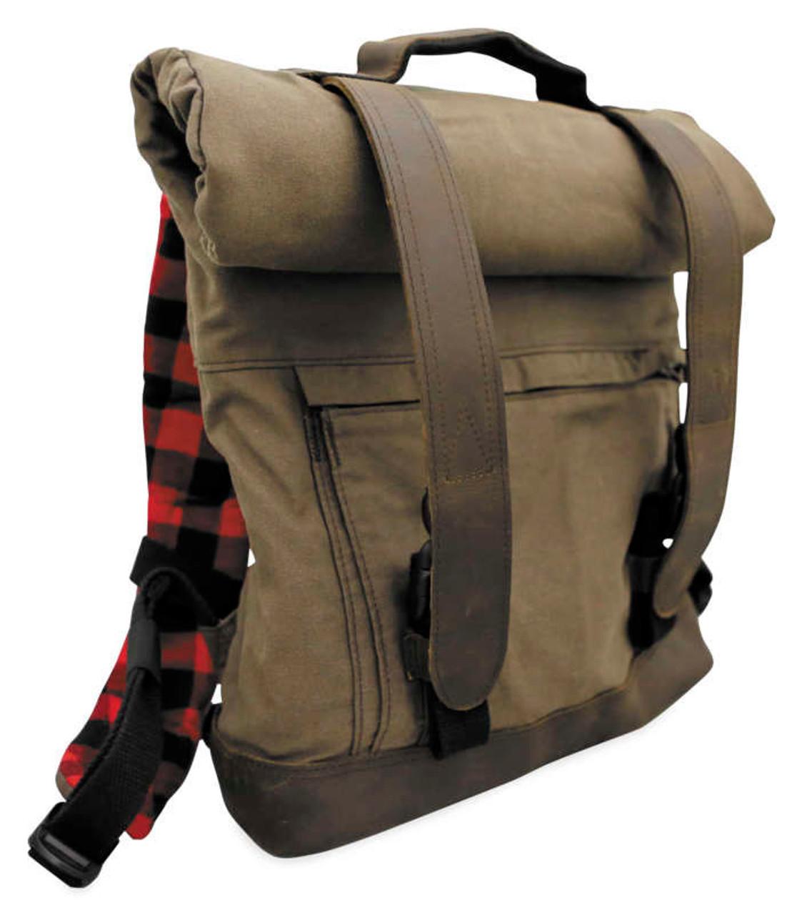 Burly Brand Brown Dark Oak Leather Buckle Zipper Universal Roll Tool Bag