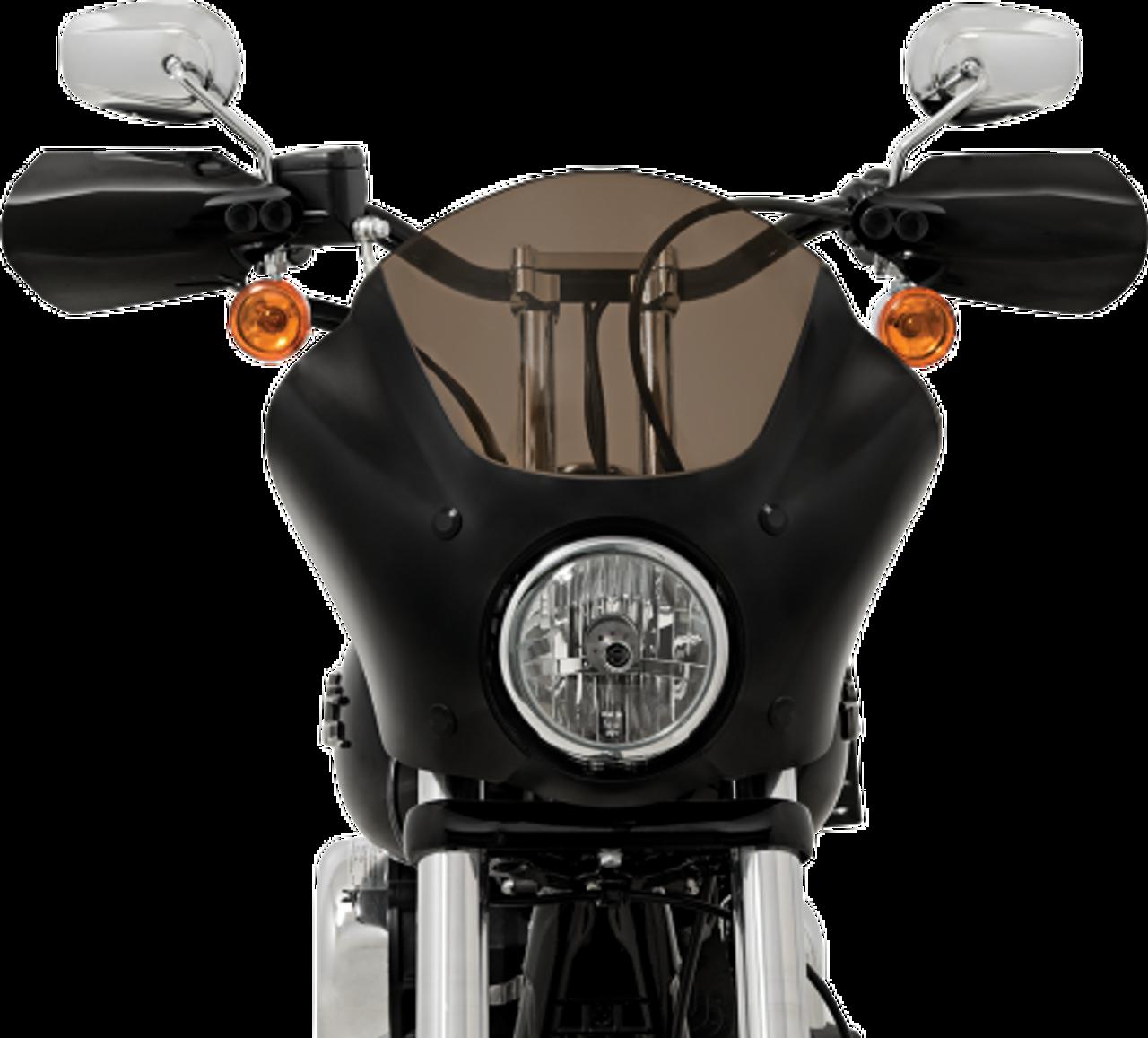 Black Memphis Shades Headlight Extension Block Dual Headlight for 08-17 Harley FXDF