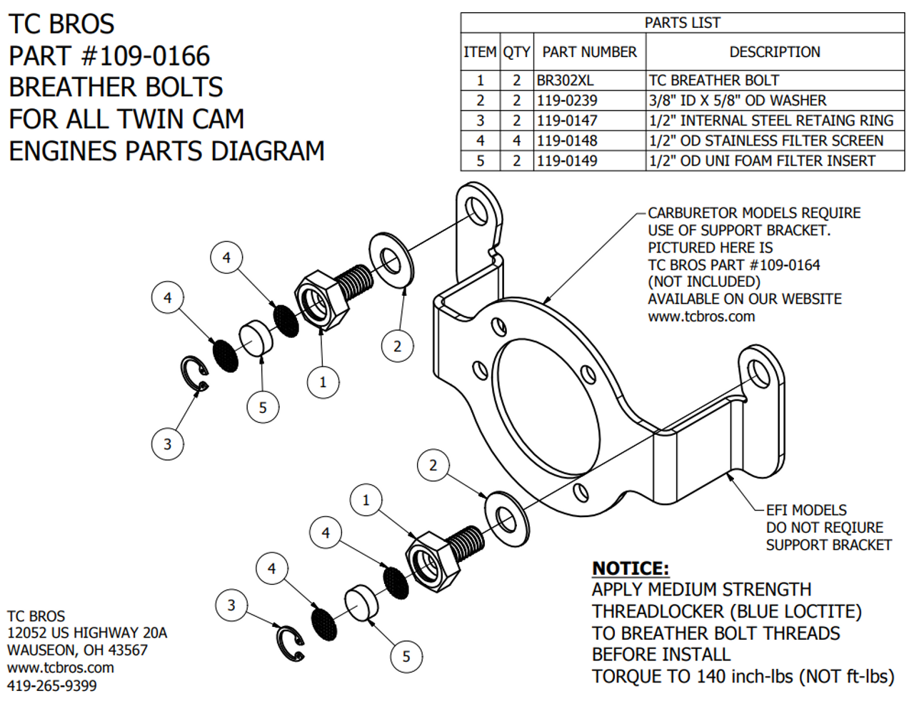 TC Bros Twin Cam Breather Bolts Harley Evolution Engine Breather Diagram on