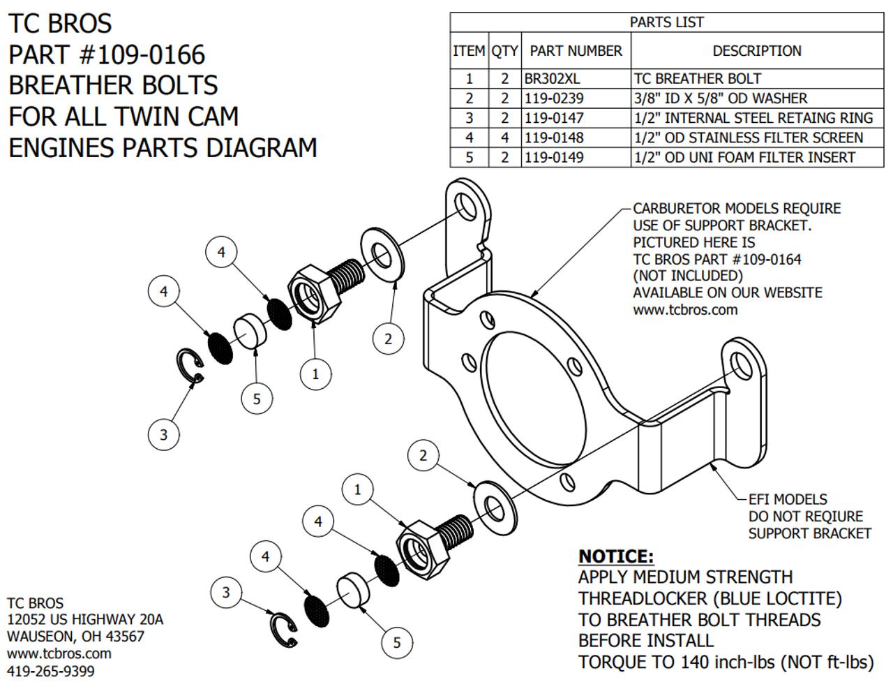 TC Bros Twin Cam Breather Bolts | Twin Cam Engine Diagram |  | Deadbeat Customs