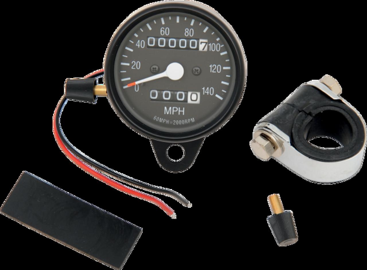 "Drag Specialties 2:1 Ratio 2.4/"" Mini Mechanical Speedometer w// Chrome Housing"