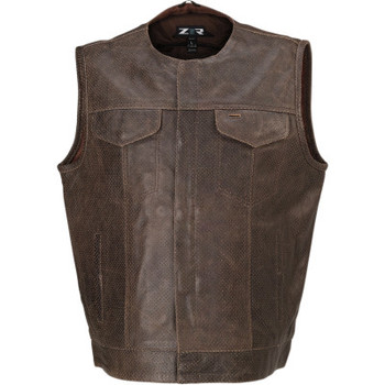 Z1R Ganja Leather Vest - Brown Perforated