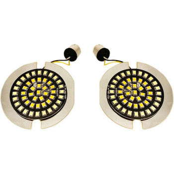 Drag Specialties - Front Dual Ring Turn Signal Inserts, Flat-style