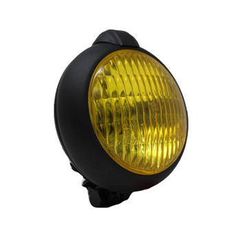 "Motorcycle Supply Co. - Unity Style 5"" Black Headlight - Yellow Lens"