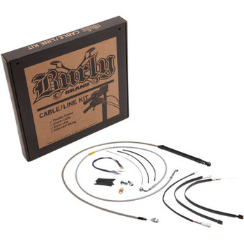"""Burly Brand Handlebar Cable/Line Install Kits fits 18"""" Ape Hanger Bar on '18-'20 Softail FLDE/FLFB/S/FLHC/S/FLSL W/ ABS (Stainless Steel)"""