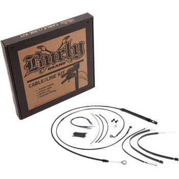 "Burly Brand Black Vinyl Handlebar Cable and Brake Line Kits for 12"" Jail Bars on '18-'20 FXBB/ FXLR Softails W/O ABS"
