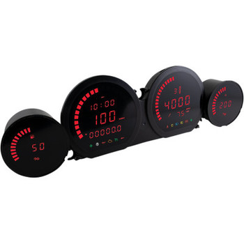 Koso North America - HD-03 Four-Piece Gauge Kits fits '14-'19 Touring Models - Red Display