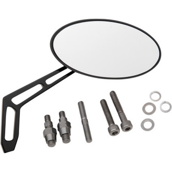 """Pro-One - Billet Aluminum Mirrors with Clear Glass, Black Anodized Oval 5"""" X 2 1/2"""" (Right)"""