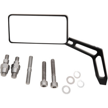 """Pro-One - Billet Aluminum Mirrors with Clear Glass, Black Anodized Rectangular 4"""" X 2"""" (Left)"""