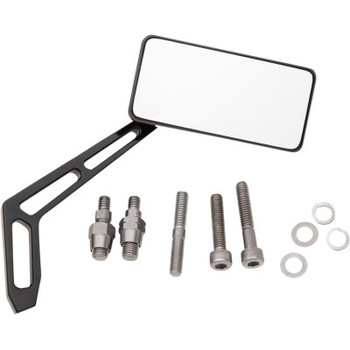 """Pro-One - Billet Aluminum Mirrors with Clear Glass, Black Anodized Rectangular 4"""" X 2"""" (Right)"""