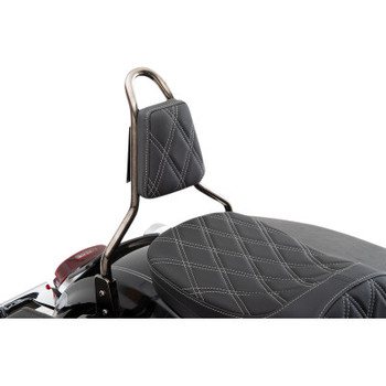 Drag Specialties - Tapered Double Diamond Sissy Bar Pad (Silver)