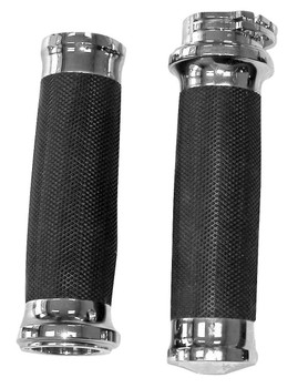 "Biker's Choice Chrome Tornado Grips - fits Harley Davidson with Dual Cable 1"" Handlebars"