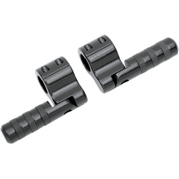 """Lindby - Clamp-On Engine Guard Wide Bands Footpegs for 1-1/4"""" Tubing - Black Anodized"""