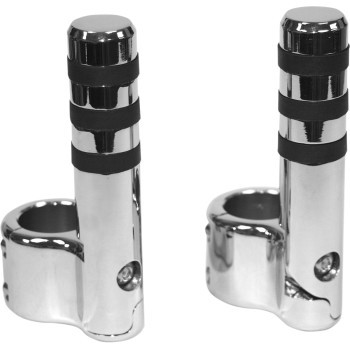 """Lindby - Clamp-On Engine Guard Ribbed Footpegs for 1 1/2"""" Tubing - Chrome"""