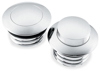 Biker's Choice - Pop Up Chrome Gas Cap Set - fits '82-'17 XL, FLH '84-'17 FXST, FLST, '91-'17 FXD