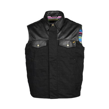 Cortech The Bandito Wet Waxed Cotton and Leather Vest - Black