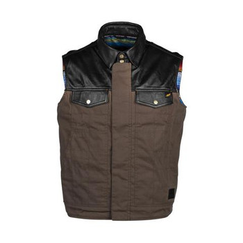 Cortech The Bandito Wet Waxed Cotton and Leather Vest - Brown