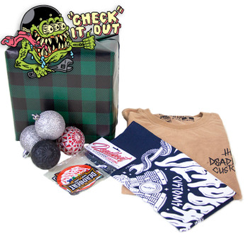 Deadbeat Customs - Mystery Holiday Gift Box - T-shirt/Bandana/Sticker Pack/Patch