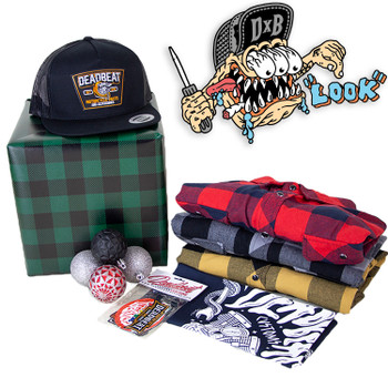 Deadbeat Customs - Mystery Holiday Gift Box #2 - Flannel Shirt/ Snapback Hat/ Bandana