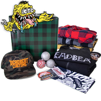 Deadbeat Customs - Mystery Holiday Gift Box #3 - T-shirt/Hat/Flannel/Hoodie/Bandana/Patch/ Sticker Pack
