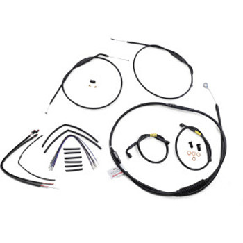 """Burly Brand - 14"""" Black Handlebar Cable/Brake Line Install Kit fits Single Disc '12-'17 FXDWG (w/ ABS)"""