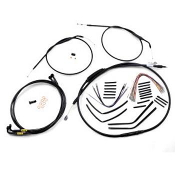 "Burly Brand - 14"" Black Handlebar Cable/Brake Line Install Kit fits Dual Disc '99-'05 FXDX/ FXDL Dyna Models"