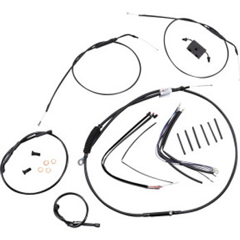 "Burly Brand - 12"" Black Handlebar Cable/Brake Line Install Kit fits Single Disc '14-'20 Sportster Models (w/ ABS)"