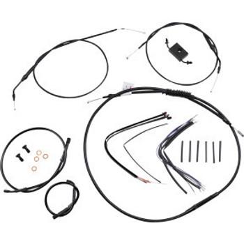 "Burly Brand - 16"" Black Handlebar Cable/Brake Line Install Kit fits Single Disc '14-'20 Sportster Models (w/ ABS)"