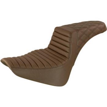 Saddlemen - Front Tuck & Roll, Rear Lattice Stitch Step-Up Seat fits '18-'20 FLSL/ FLDE/ FLHC/S M8 Softail Models (Brown)