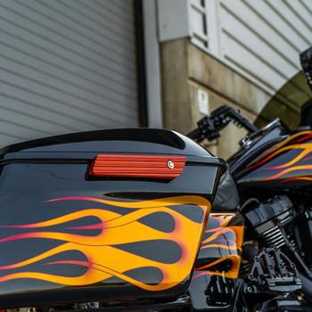 Arlen Ness - Orange 10-Gauge Saddlebag Latch Covers fits '14-'20 Touring Models