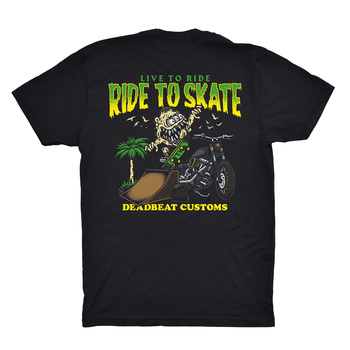 Deadbeat Customs - Live To Ride x Ride To Skate T-Shirt - Black