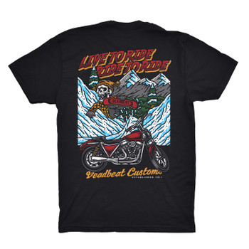 Deadbeat Customs- Live To Ride x Ride To Ride T-Shirt - Black