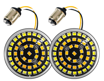 Motorcycle Supply Co. - Harley LED Turn Signal Insert - 1157 (Dual Filament) White/ Yellow