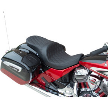 Drag Specialties - Low-Profile Touring Seats W/ Forward Positioning (Double Diamond, Black Thread)