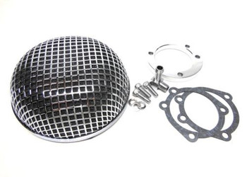 V-Twin Round Mesh Air Cleaner - Chrome Fits Harley CV Type Carburetor