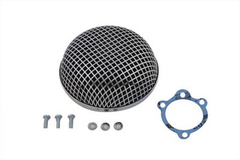 V-Twin Round Mesh Air Cleaner - Chrome fits Harley S&S Type Carburetor