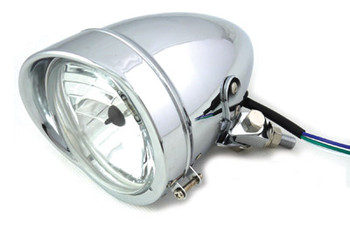 "V-Twin 4-1/2"" Bullet Headlamp with Visor - Chrome"