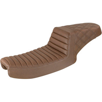 Saddlemen - Brown Front Tuck N' Roll, Rear Lattice Stitch Step-Up Seat fits '91-'95 FXD Models (Exc. FXDWG Models)