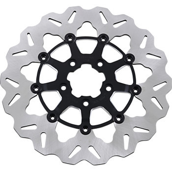 """Galfer - 11.8"""" Wave® Front Full-Floating Center Hub Brake Rotor W/ Black/Machined Carrier fits '08-'13 Touring, '15-'17 Softail, '06-'17 Dyna Glide & '14-'20 Sportsters"""