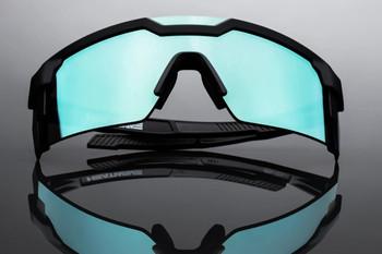 HeatWave Visual - Future Tech Black Frame Arctic Chrome Lens Sunglasses - ANSI Z87+